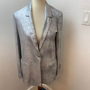 NWT Zara Silver Leaf Blazer. Sz Small